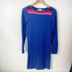 Lacoste Blue cotton cashmere blend sweater dress
